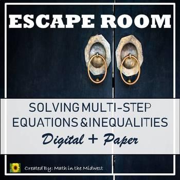 ⭐NO PREP Solving Multi-Step Equations & Inequalities Escape Room {Algebra 1}⭐