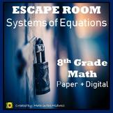 ⭐NO PREP Solving Systems of Equations Escape Room {8th Grade Math}⭐