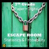 ⭐NO PREP Statistics & Probability Escape Room {7th Grade Math}⭐