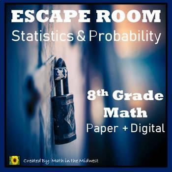 ⭐NO PREP Statistics & Probability Escape Room {8th Grade Math}⭐