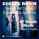 ⭐NO PREP Volume of Cones, Cylinders & Spheres Escape Room {8th Grade Math}⭐