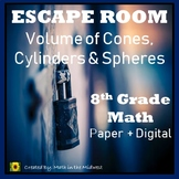 ⭐NO PREP Volume of Cones, Cylinders & Spheres Escape Room