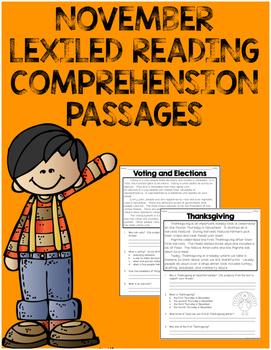 {NOVEMBER} Lexiled Reading Comprehension Passages