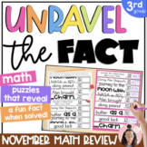 3rd Grade Math Spiral Review {NOVEMBER} | 3rd Grade Math Worksheets | Fun Facts