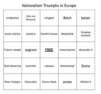 """""""Nationalism Triumphs in Europe"""" Vocabulary Bingo for a World History Course"""