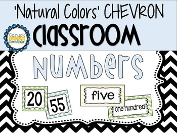 'Natural Colors' Chevron Classroom Numbers