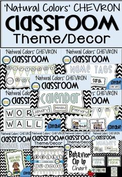 'Natural Colors' Chevron Classroom Theme Decor Bundle