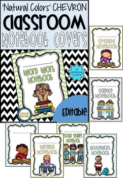 'Natural Colors' Chevron Classroom Theme Decor Bundle