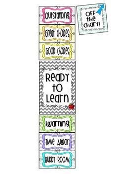 'Natural Colors' Chevron Theme Classroom Behavior Clip Up Chart