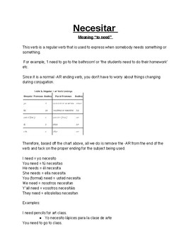 'Necesitar' notes