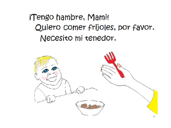 ¡Necesito mi cuchara! Story/coloring book/activity to teach cup, fork, spoon