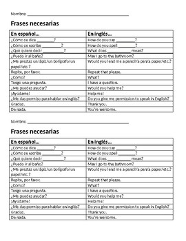 """""""Necessary Phrases"""" cheat sheet for the 90%+ target language Spanish class"""