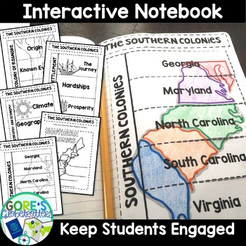 Southern Colonies Interactive Notebook, Writing Activities, and Test