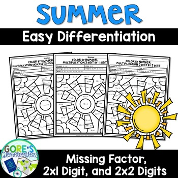 Summer Math Color by Number - Differentiated Multiplication