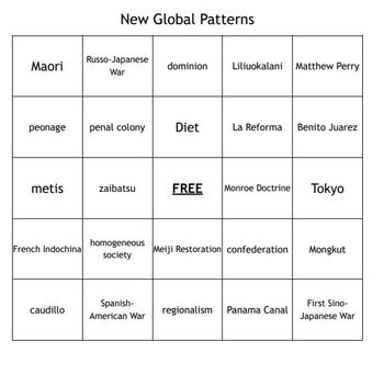 """""""New Global Patterns"""" Vocabulary Bingo for a World History Course"""
