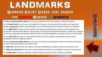 -New Jersey v. T.L.O.- Landmark Supreme Court Case (PPT, handouts & more)