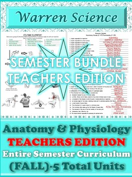 !!!New!!! Teachers Edition: Fall Semester Human Anatomy and Physiology