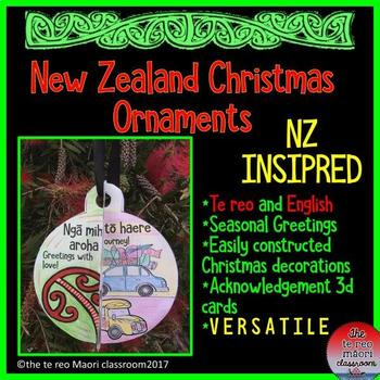 **New Zealand Christmas Ornaments** Te Reo and English