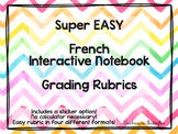 EASY World Language and French Interactive Notebook Rubrics