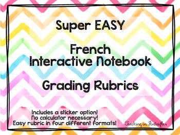 EASY French & World Language Interactive Notebook Rubrics