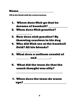 """Nick's Very First Day of Baseball""  the Hometown Allstar Series Worksheet"