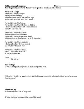 """Night"" close reading poetry worksheet"