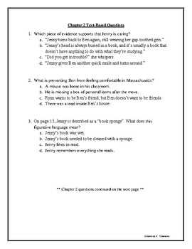 """Night of the Spadefoot Toads"" Text Based Questions for Every Chapter!"
