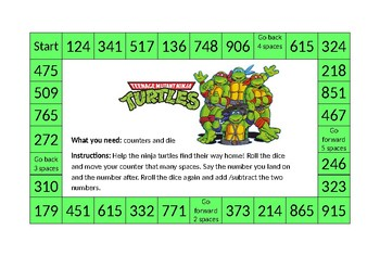 'Ninja Turtles' themed addition and subtraction board game - differentiated