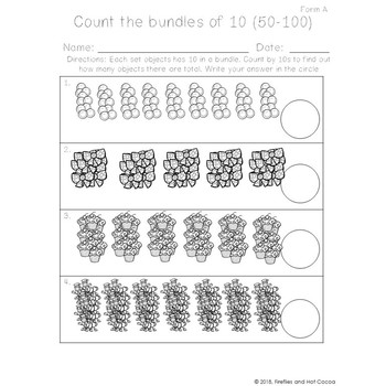 *No Prep* Counting Objects by 10 to 100 Worksheets bundle