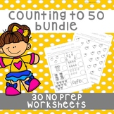 *No Prep* Counting Objects to 10, 20 & 50 Worksheets Bundle