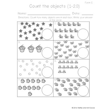 *No Prep* Counting Objects to 10 & 20 Worksheets