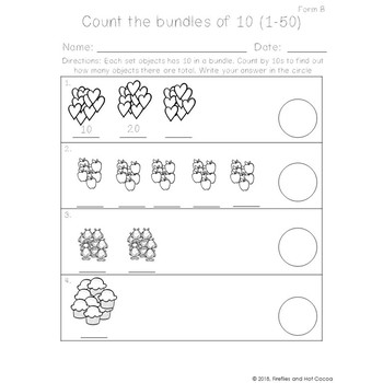 *No Prep* Counting to 50 by tens Worksheet
