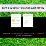 *No Prep* Earth Day Earth Conservation Webquest Activity