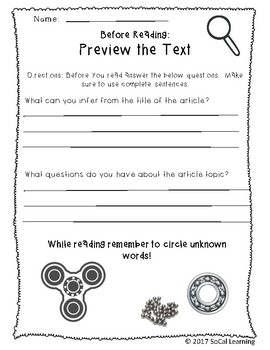 **NO PREP** Fidget Spinner STEM Differentiated Close Reading Mystery