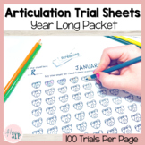 *No Prep* Printable Year Long 100 Articulation Trial Sheets | Speech Therapy