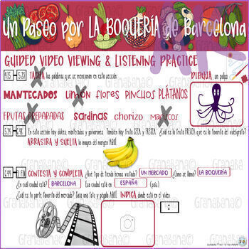 Project Based Learning Comida Mercado Vocab Cultura: La Boquería de Barcelona