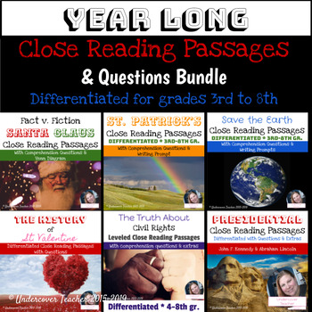 Year Long Close Reading Passages & Questions {Growing Bundle}