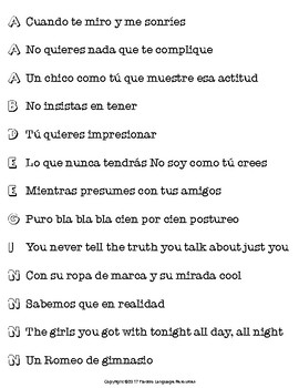 """No soy como tú crees"" by Ana Mena Spanish Song Activities Packet"