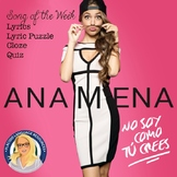 """""""No soy como tú crees"""" by Ana Mena Spanish Song Activities Packet"""