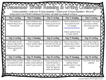 (Non Denominational) December Break Reading & Writing Challenge