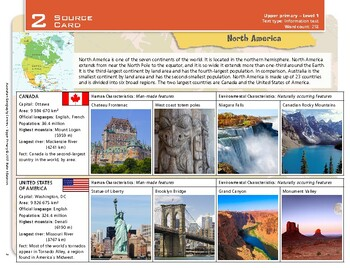 """""""North America"""" Year 5 Card 2 Australian Geography Centre"""