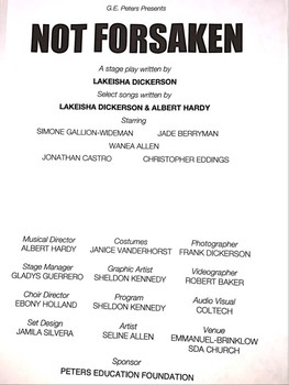 """""""Not Forsaken""""  a Stageplay for Black History Month"""