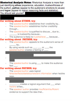 Notes for Rhetorical Analysis - Complete with Sentence Frames & Example!