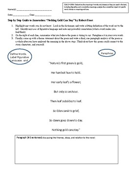 """""""Nothing Gold Can Stay"""" Annotation and Analysis Worksheet"""