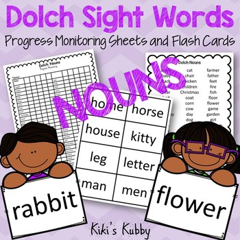 (Nouns) Dolch Sight Words: Progress Monitoring Sheets and Flash Cards