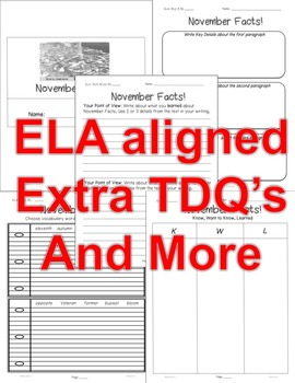 """""""November FACTS"""" Informational Text Close Read 5 level passages 15pgs +(Freebie)"""