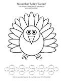 """""""November Turkey Tracker""""  - Fall Piano Practice Chart"""