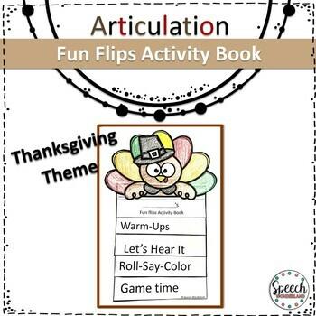 Thanksgiving Articulation Fun Flips Activity Book