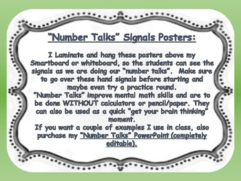 """""""Number Talks"""" Hand Signals Posters"""