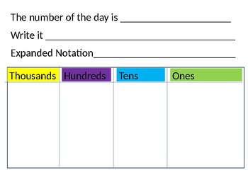 ~Number of the day template